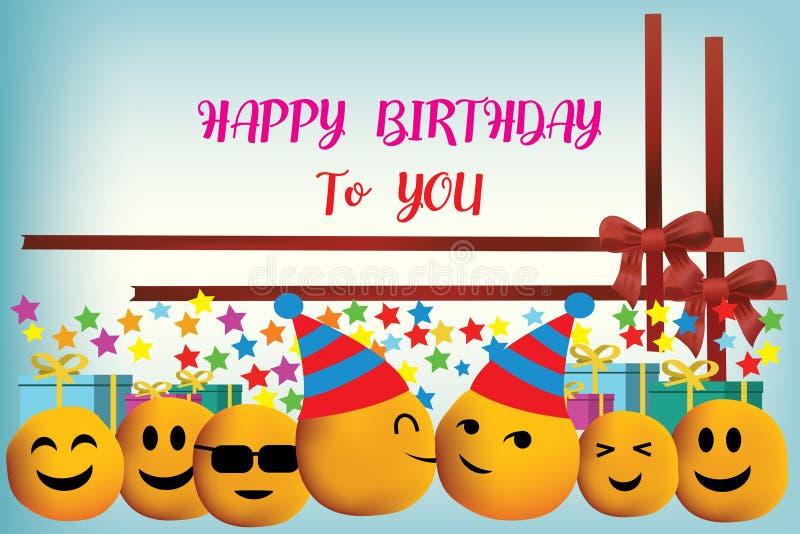 Diseño del vector del feliz cumpleaños con la cara de la sonrisa stock de ilustración