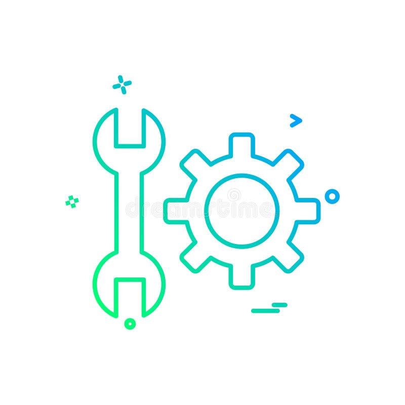 diseño del vector del icono del ajuste del engranaje de la llave ilustración del vector