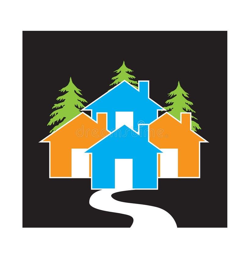 Diseño del vector del icono del concepto del pueblo de las casas libre illustration