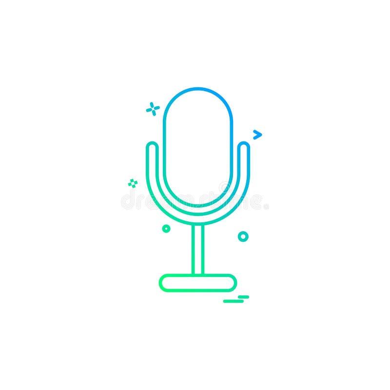 diseño del vector del icono de la voz del sonido del registrador del micrófono libre illustration