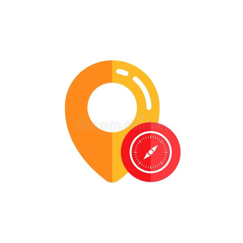 diseño del vector del icono del perno del compás diseño del símbolo de la muestra del mapa del perno ilustración del vector