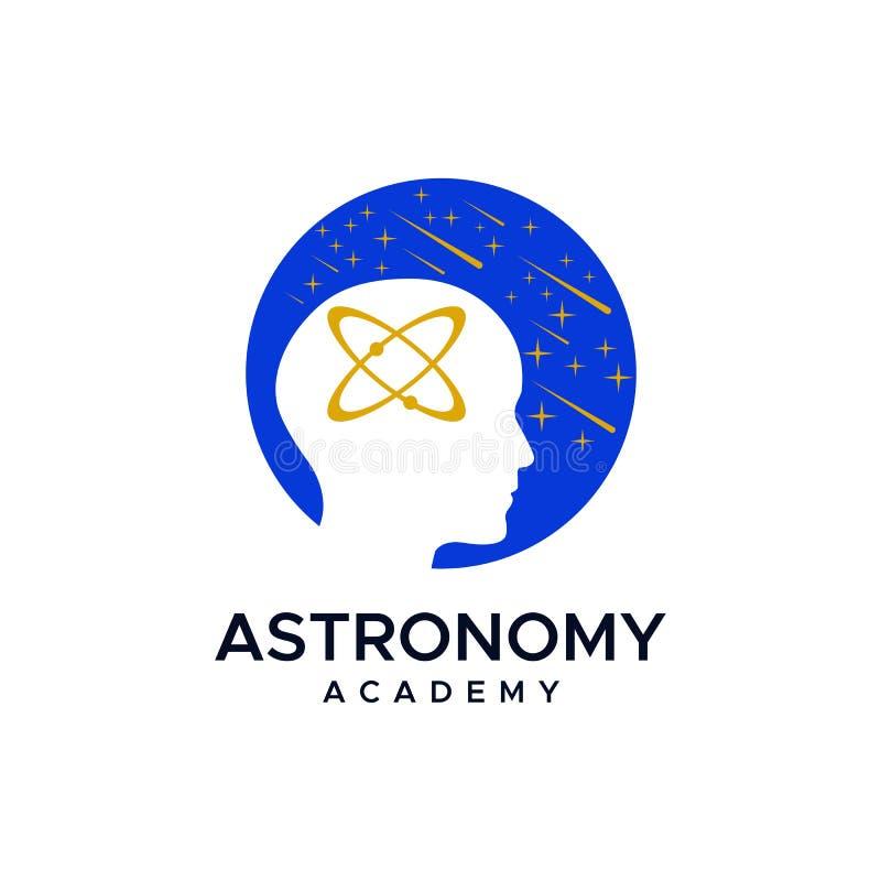 Diseño del vector del logotipo de la academia de la astronomía stock de ilustración