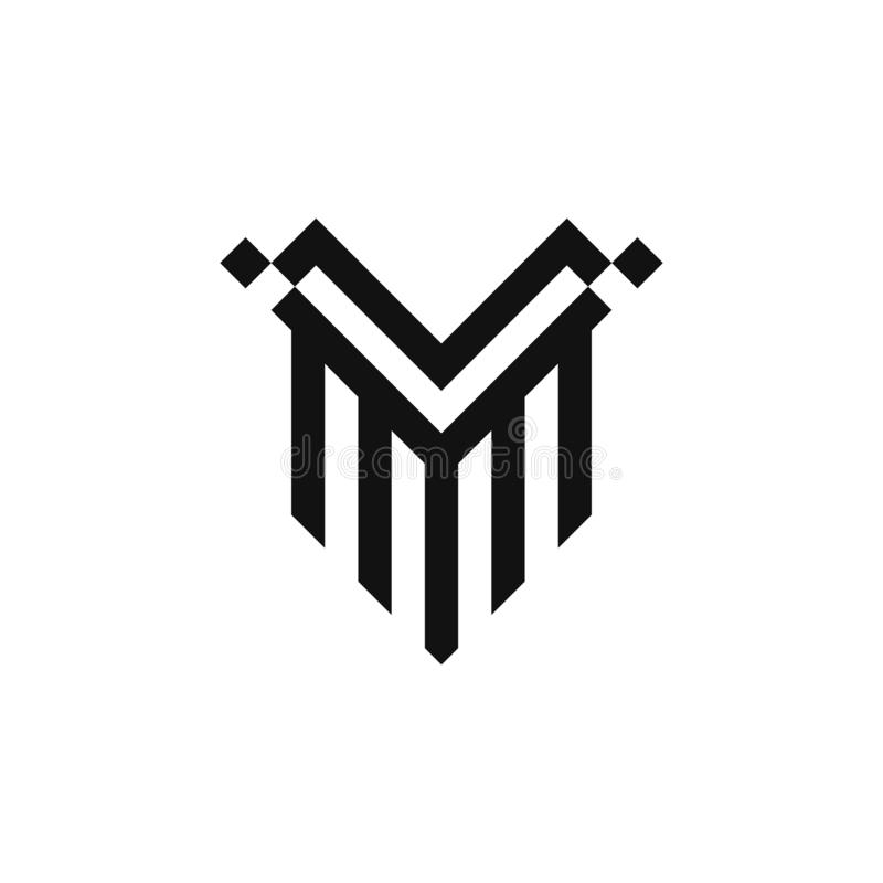 Diseño del vector del logotipo del escudo V stock de ilustración