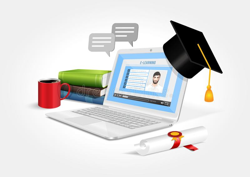 Diseño del vector que representa un ordenador portátil con software de aprendizaje en línea stock de ilustración