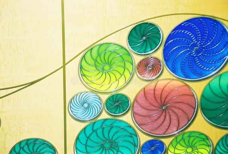 Diseño del vidrio manchado imagenes de archivo
