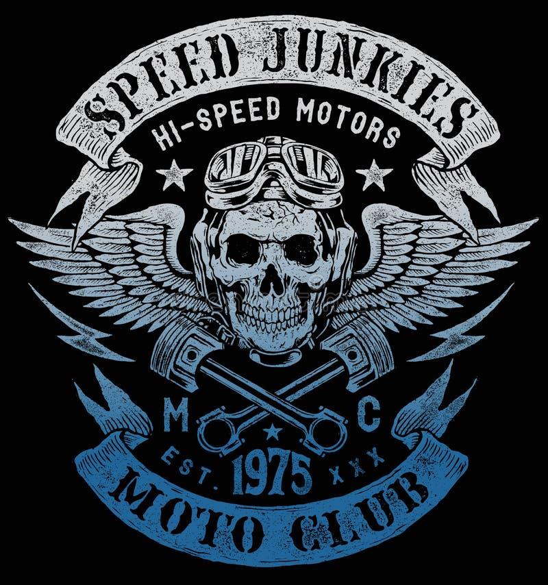 Diseño del vintage de la motocicleta de los drogadictos de la velocidad ilustración del vector