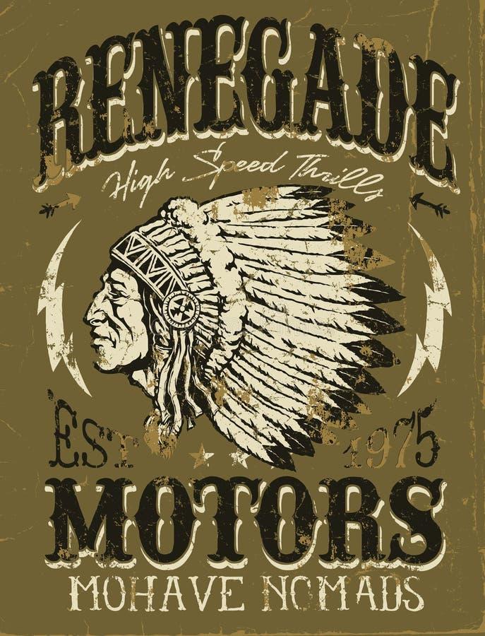 Diseño del vintage de los motores del renegado para la ropa libre illustration