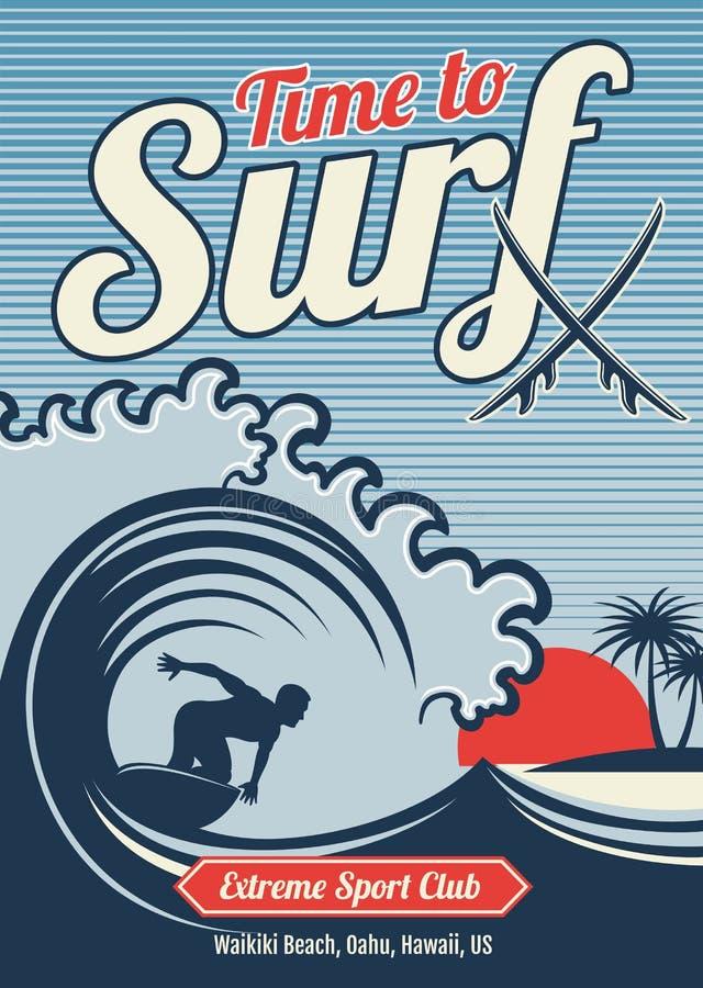 Diseño del vintage del vector de la camiseta de Hawaii del vector que practica surf stock de ilustración