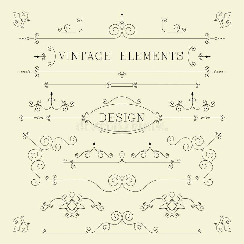 Diseño del vintage, fronteras, elementos retros, marco, stock de ilustración