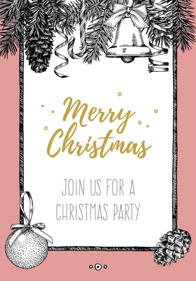 Diseño del vintage para la tarjeta de felicitación o invitación para la celebración de la Navidad Marco del vector con los elemen ilustración del vector