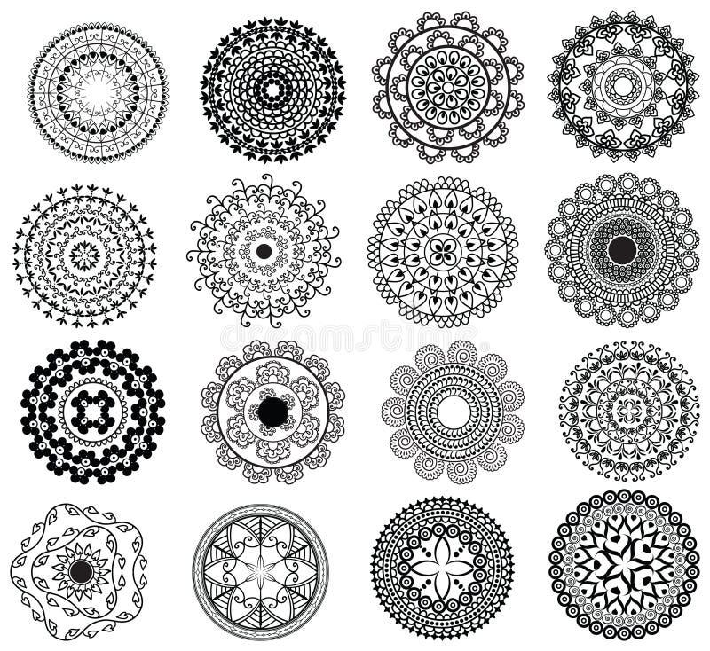 Diseño detallado de la mandala stock de ilustración