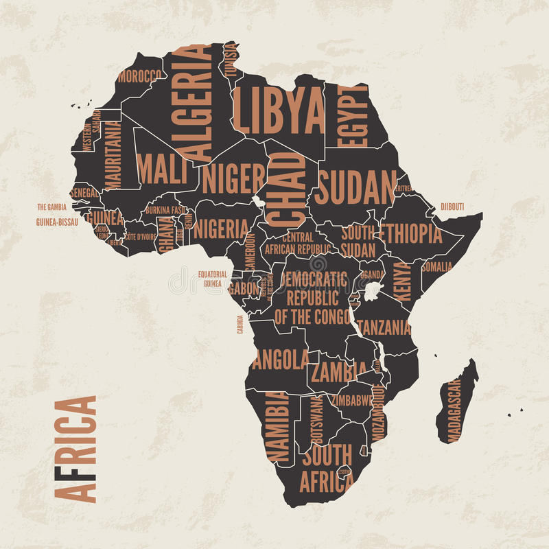 Diseño detallado vintage del cartel de la impresión del mapa de África Illustra del vector ilustración del vector