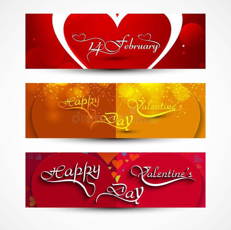 Diseño determinado colorido de tres jefes de la tarjeta de felicitación del día de tarjetas del día de San Valentín stock de ilustración