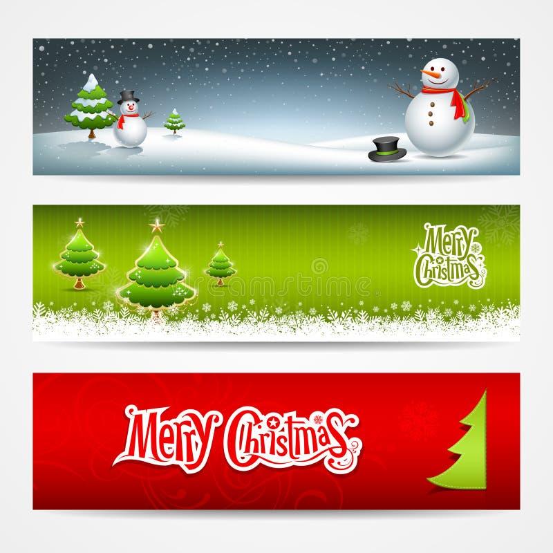 Diseño determinado de las banderas de la Feliz Navidad stock de ilustración