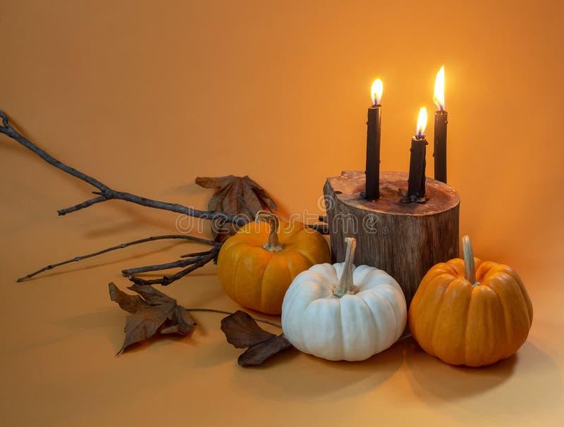 Diseño determinado de las calabazas de lujo de Halloween con las velas negras en naranja imagenes de archivo