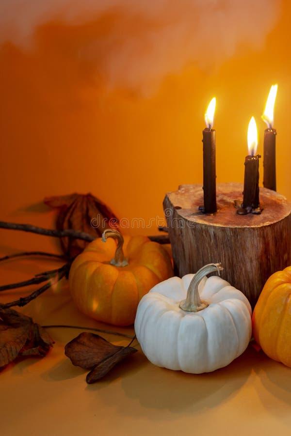 Diseño determinado de las calabazas de lujo de Halloween con las velas negras en naranja fotografía de archivo