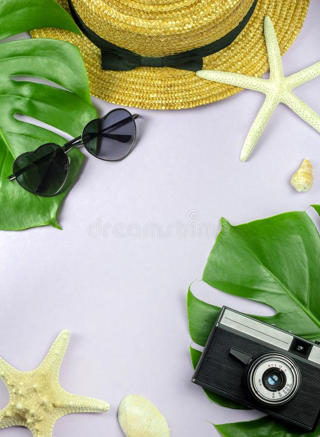 Diseño determinado de las vacaciones tropicales de la playa con el fondo del rosa en colores pastel imágenes de archivo libres de regalías