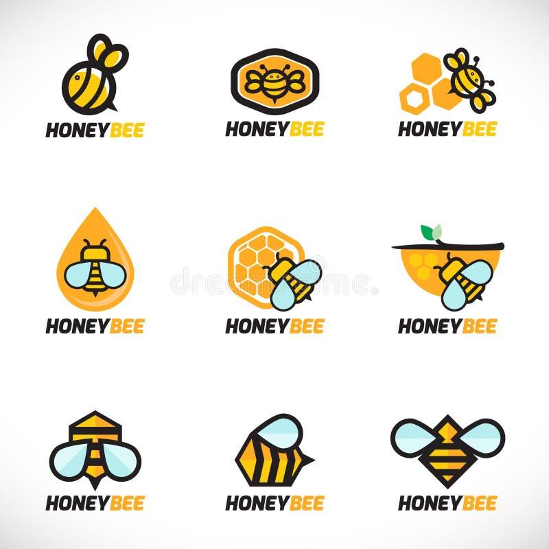 Diseño determinado del arte del vector del logotipo de la abeja de la miel stock de ilustración