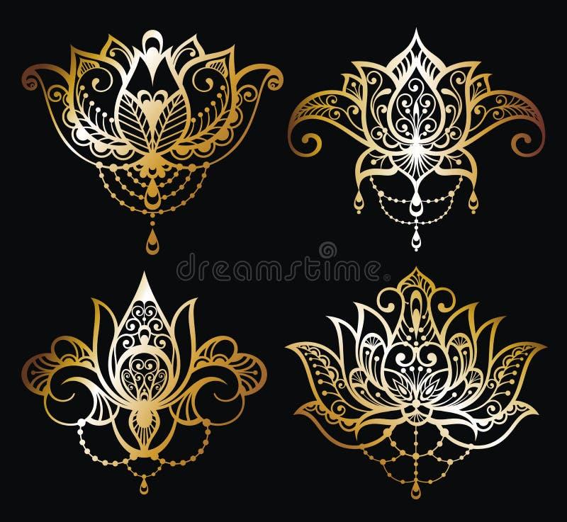 Diseño determinado del arte del vector del logotipo de Lotus del oro ilustración del vector