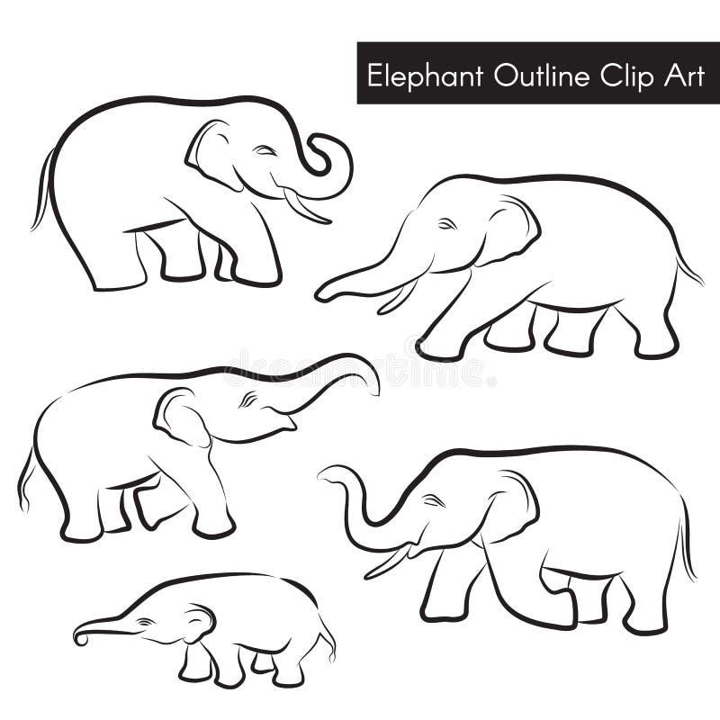 Diseño determinado del elefante del esquema del vector lindo del clip art ilustración del vector