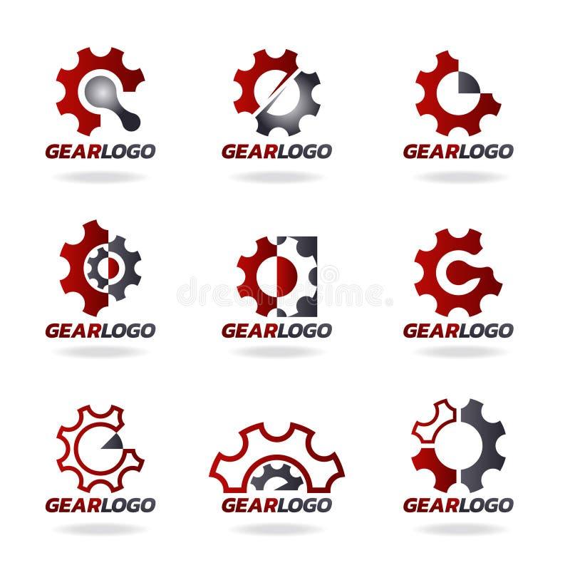 Diseño determinado del engranaje del vector rojo y gris del logotipo stock de ilustración