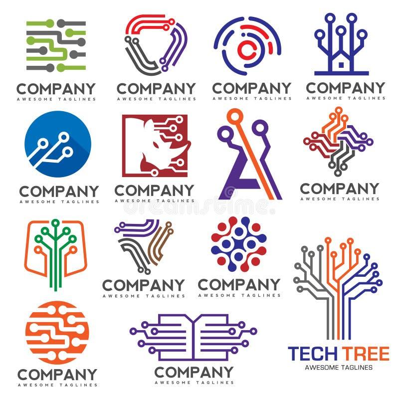 Diseño determinado del logotipo de la electrónica de Digitaces ilustración del vector