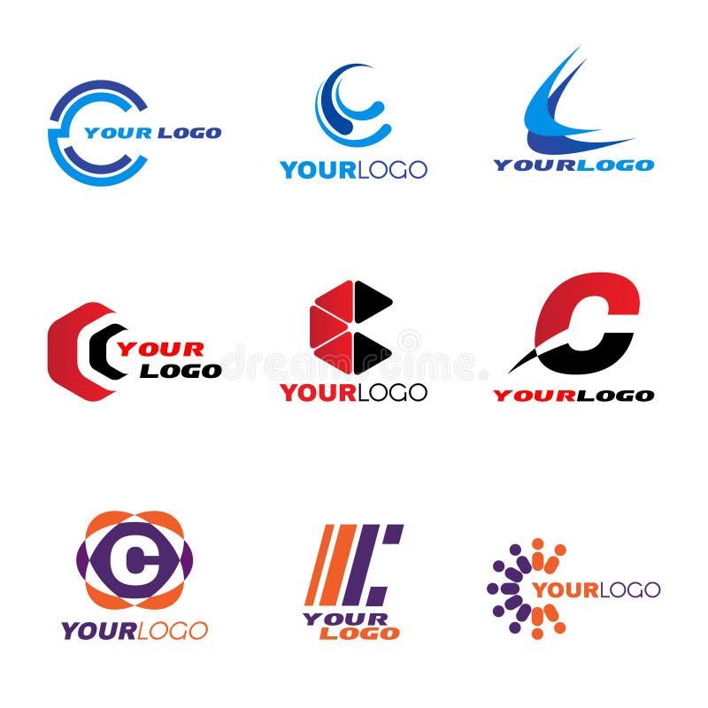 Diseño determinado del vector del logotipo de la letra C stock de ilustración