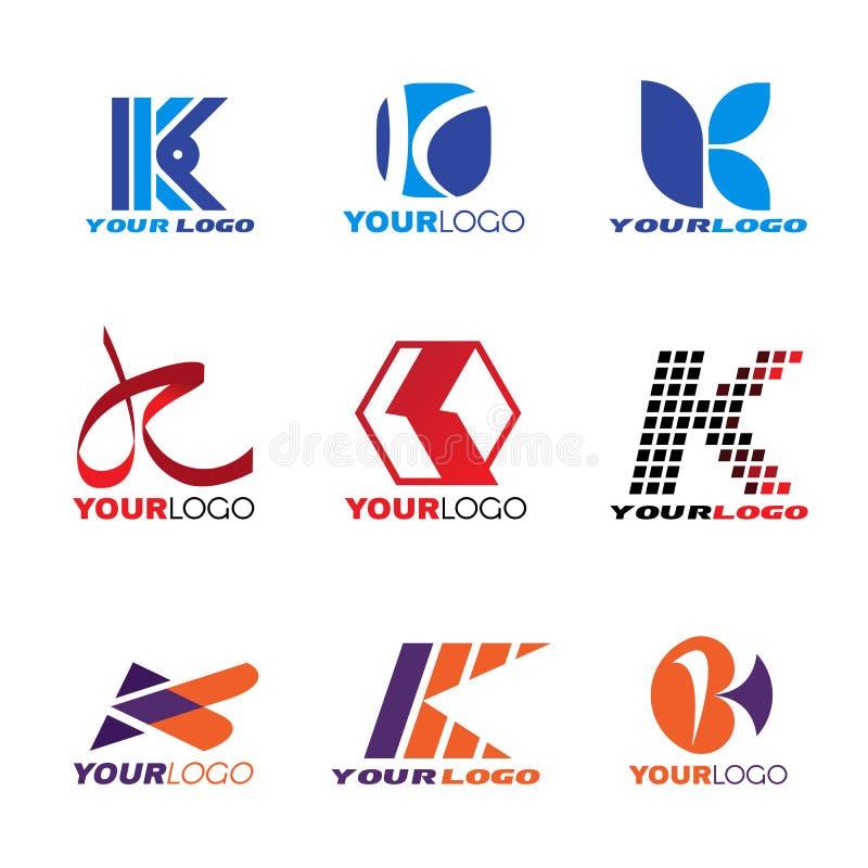 Diseño determinado del vector del logotipo de la letra K ilustración del vector