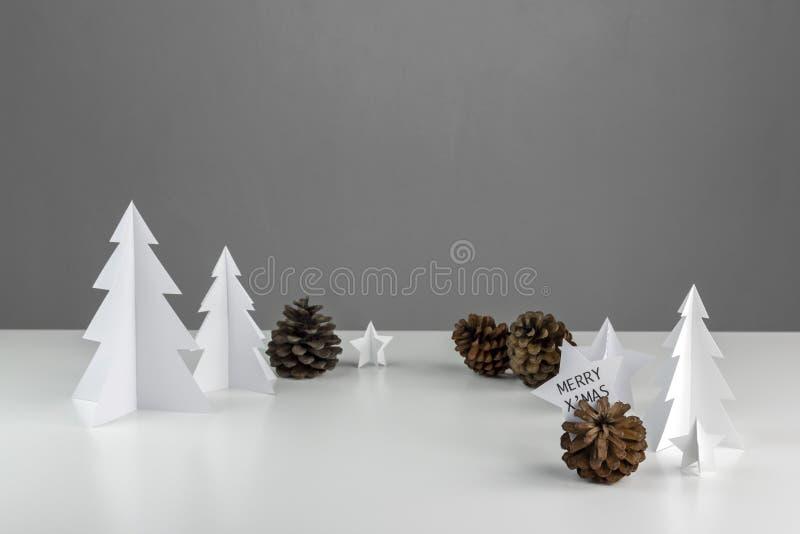 Diseño determinado mínimo blanco de la Navidad de la estación del invierno y de Año Nuevo fotografía de archivo libre de regalías