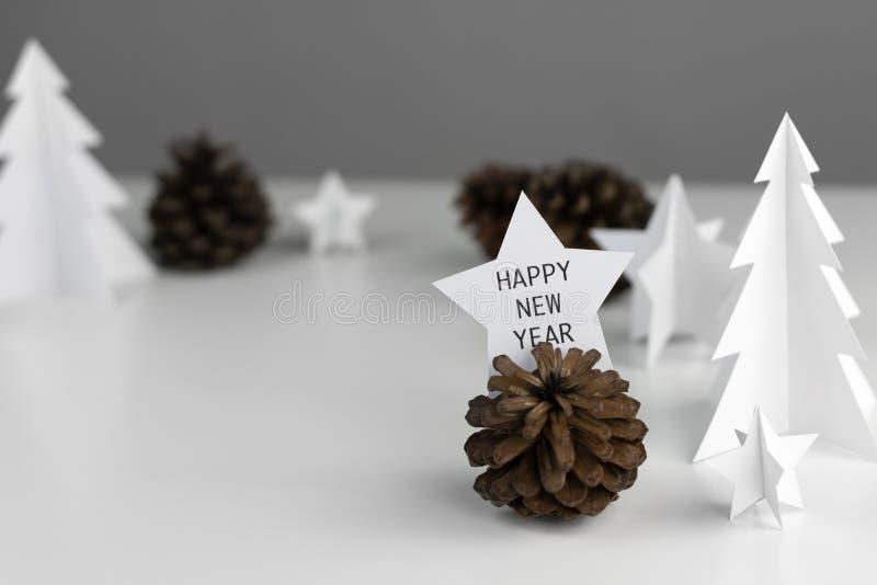 Diseño determinado mínimo blanco de la Navidad de la estación del invierno y de Año Nuevo fotografía de archivo