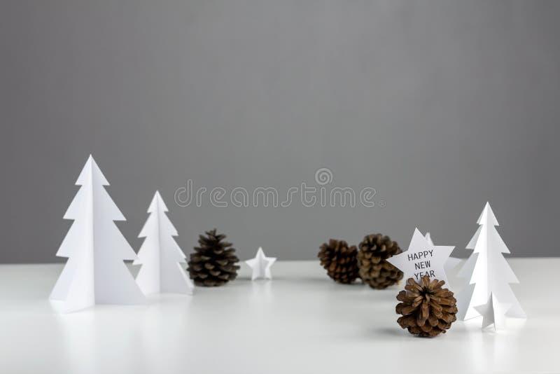 Diseño determinado mínimo blanco de la Navidad de la estación del invierno y de Año Nuevo imagenes de archivo