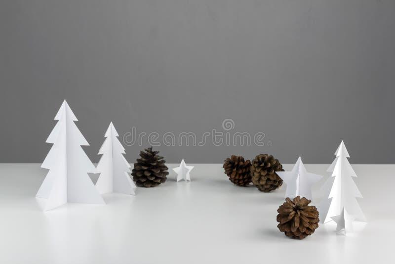 Diseño determinado mínimo blanco de la Navidad de la estación del invierno y de Año Nuevo imagen de archivo libre de regalías