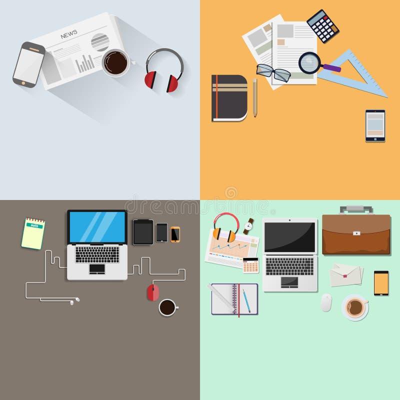 Diseño determinado moderno en oficina y para la visión de escritorio ilustración del vector