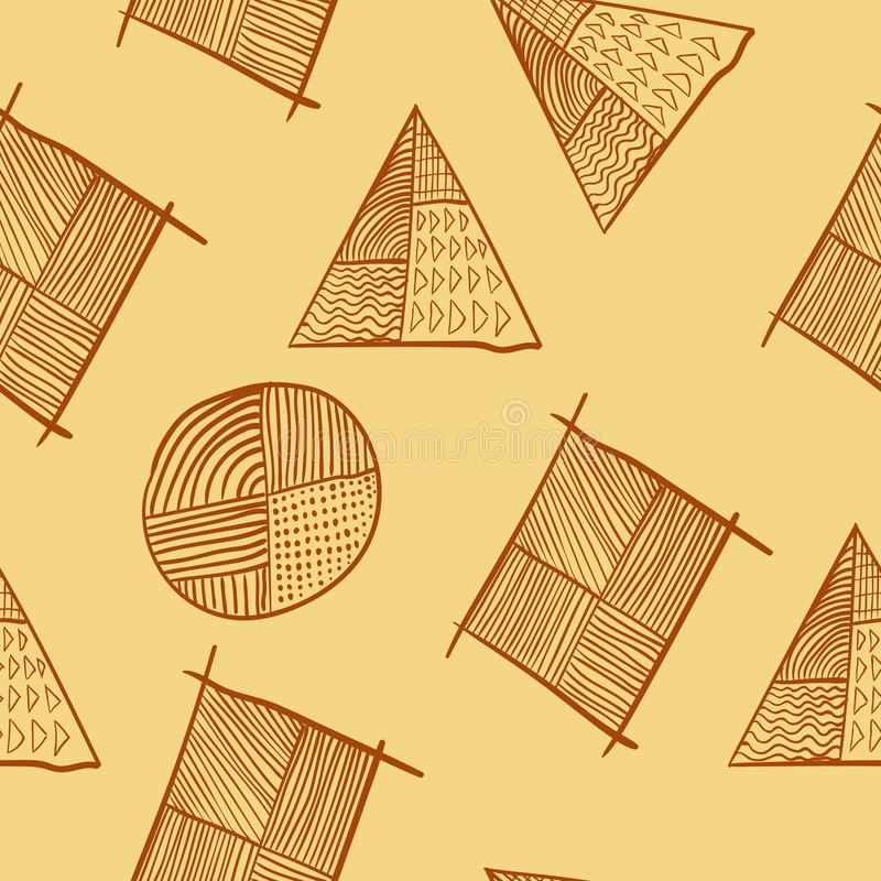 Diseño diagonal dibujado mano inconsútil geométrica simple del cartel ilustración del vector