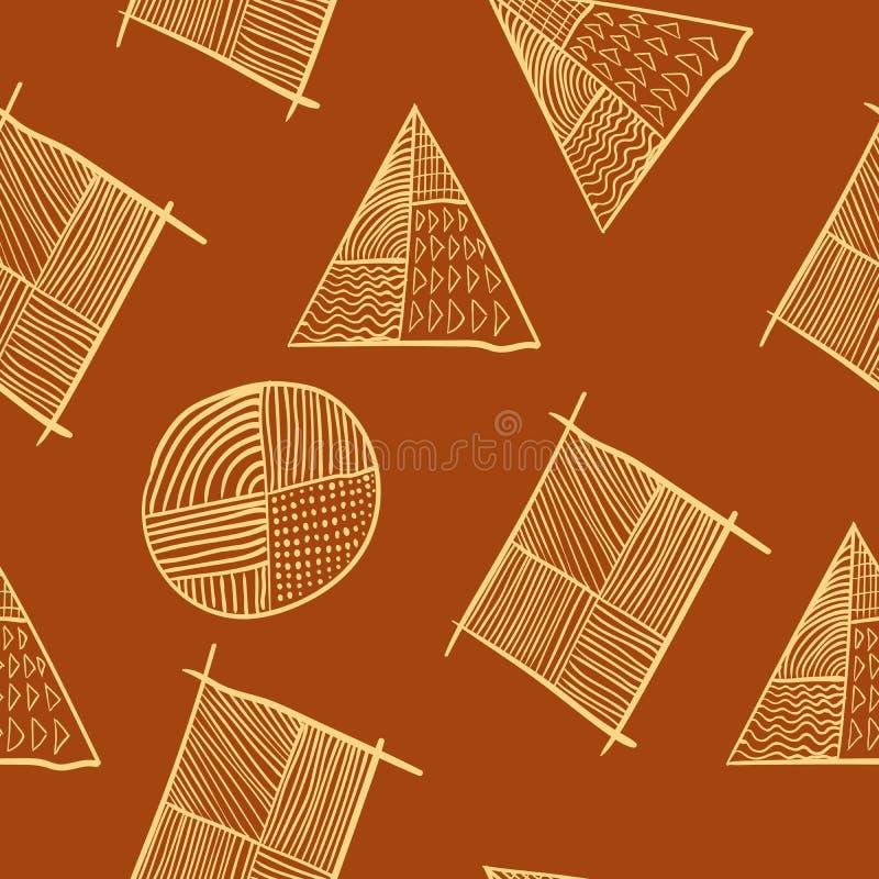 Diseño diagonal dibujado mano inconsútil geométrica simple del cartel stock de ilustración