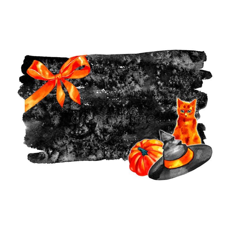 Diseño dibujado mano de Halloween de la acuarela Plantilla de la tarjeta de la invitación stock de ilustración