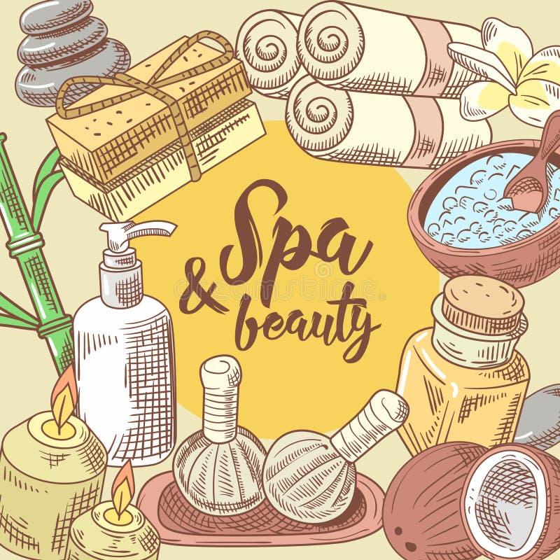 Diseño dibujado mano de la belleza de la salud del salón del balneario Sistema de elementos de la salud del Aromatherapy Tratamie libre illustration