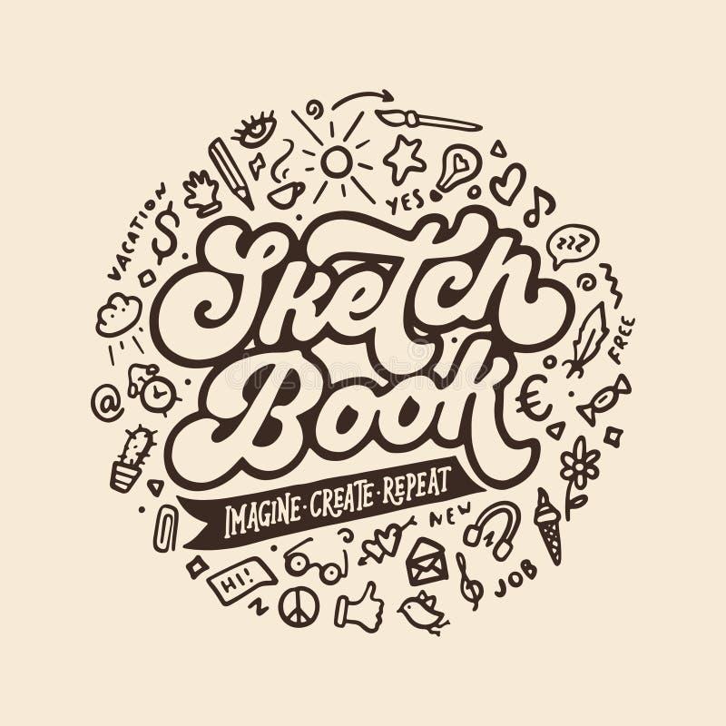 Diseño dibujado mano de la cubierta del Sketchbook Ejemplo del vintage del vector stock de ilustración