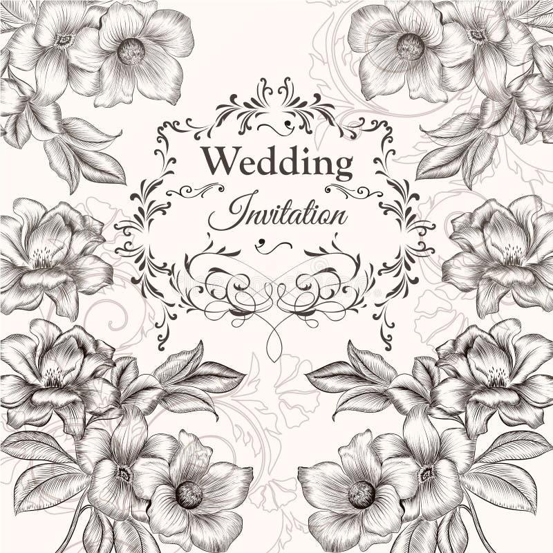 Download Diseño Dibujado Mano De La Invitación Del Vector En Estilo Floral Clásico Ilustración del Vector - Ilustración de enrollamiento, curvas: 64210852