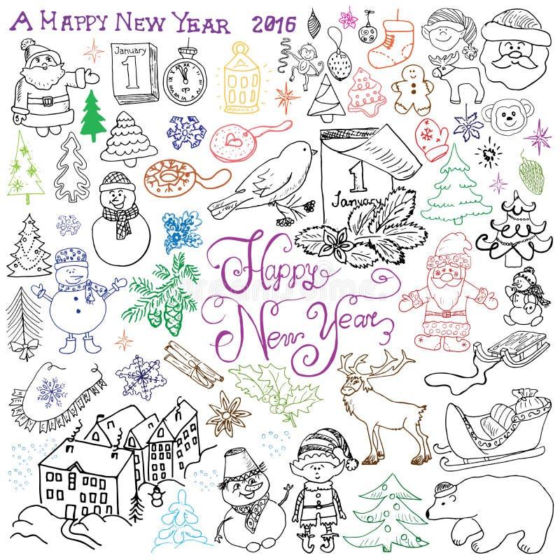 Diseño dibujado mano del bosquejo de garabatos de la Feliz Año Nuevo 2016 con el sistema de las letras, con los copos de nieve de stock de ilustración