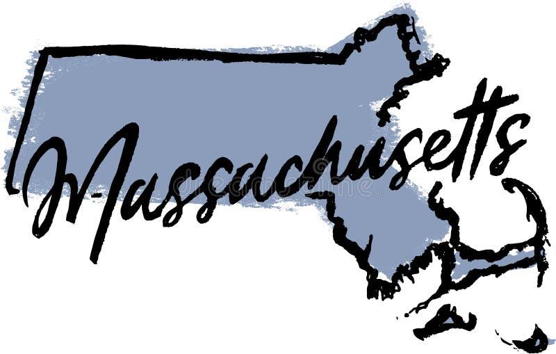 Diseño dibujado mano del estado de Massachusetts fotos de archivo