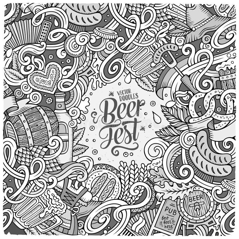 Diseño dibujado mano linda del marco de la cerveza de los garabatos de la historieta libre illustration