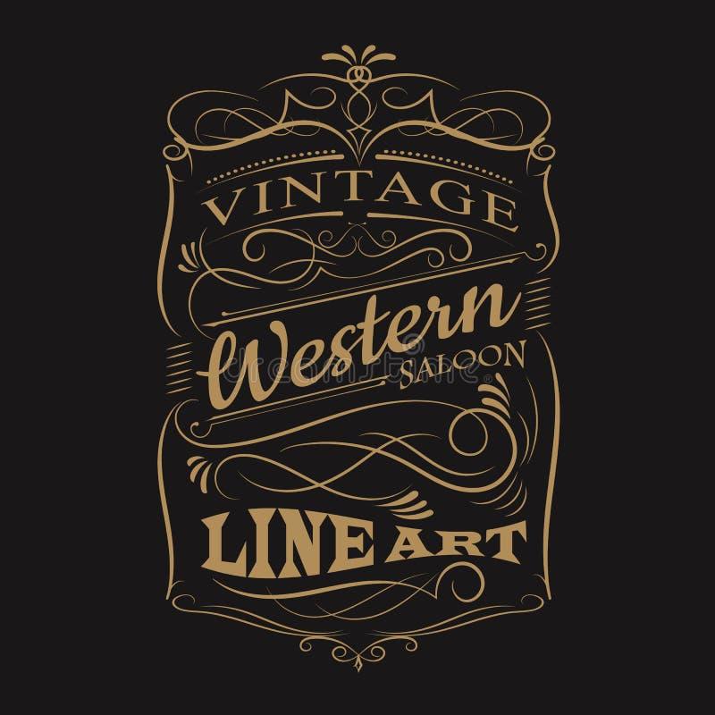 Diseño dibujado mano occidental de la camiseta del marco de la tipografía de la etiqueta del vintage stock de ilustración