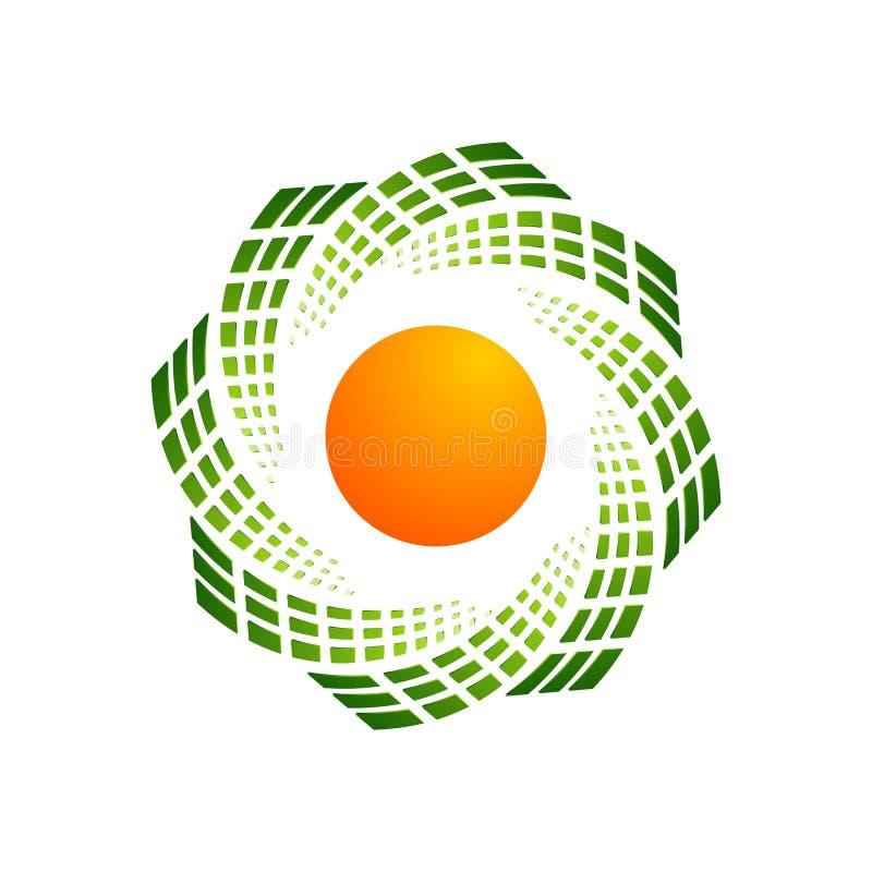 Diseño digital abstracto creativo t del logotipo del vector de la tecnología de la esfera stock de ilustración