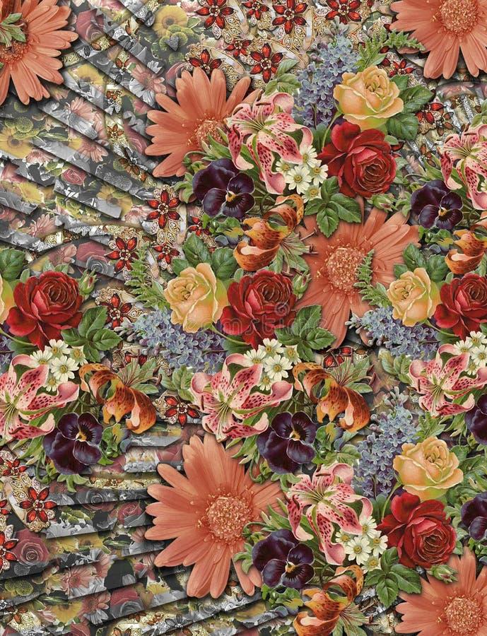 Diseño digital colorido hermoso de la materia textil de la impresión stock de ilustración