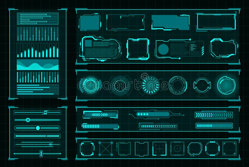 Diseño digital de la interfaz de usuario futurista en negro ilustración del vector