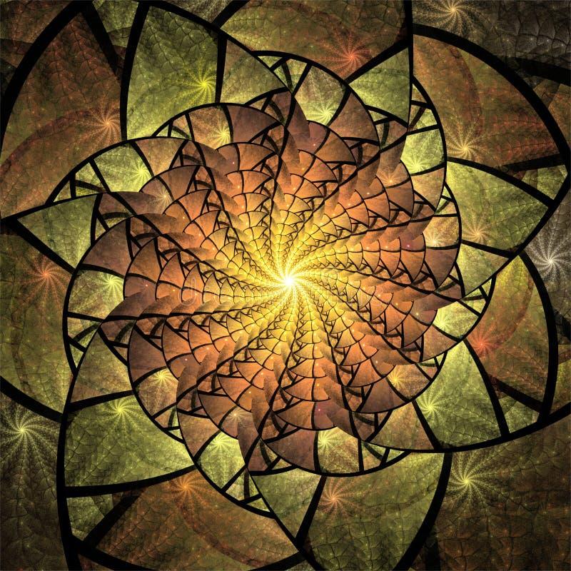Diseño digital del arte del fractal del ordenador, formas fantásticas de los fractales del extracto, caleidoscopio del mosaico am stock de ilustración