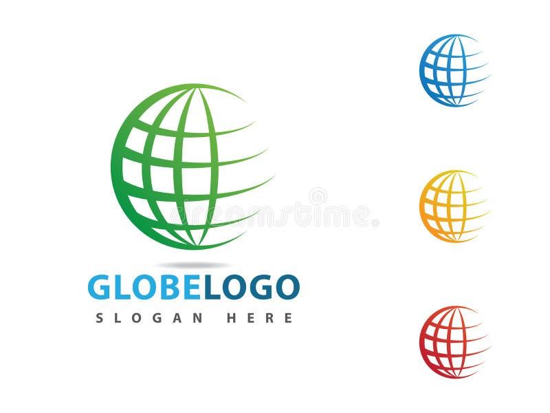 diseño dinámico del vector del icono del logotipo de la esfera del globo stock de ilustración