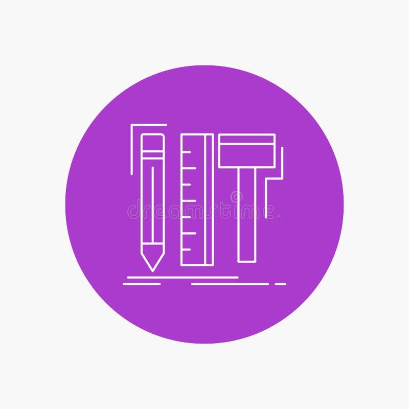 Diseño, diseñador, digital, herramientas, línea blanca icono del lápiz en fondo del círculo Ejemplo del icono del vector libre illustration