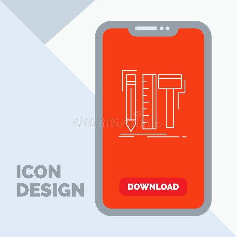 Diseño, diseñador, digital, herramientas, línea icono del lápiz en el móvil para la página de la transferencia directa libre illustration